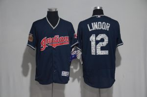 2017 MLB Cleveland Indians 12 Lindor Blue Spring Training Flex Base Jersey