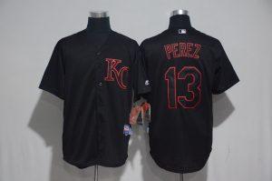 2017 MLB Kansas City Royals 13 Perez Black Classic Jerseys