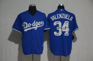 2017 MLB Los Angeles Dodgers 34 Valenzuela Blue Fashion Edition Jerseys