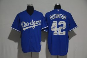 2017 MLB Los Angeles Dodgers 42 Robinson Blue Fashion Edition Jerseys