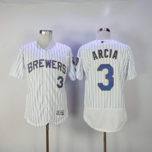 2017 MLB Milwaukee Brewers 3 Arcia White Elite Jerseys