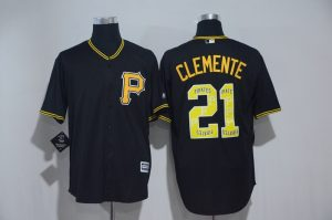2017 MLB Pittsburgh Pirates 21 Clemente Black Fashion Edition Jerseys