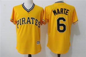 2017 MLB Pittsburgh Pirates 6 Marte Yellow Throwback Game Jerseys