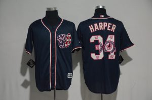 2017 MLB Washington Nationals 34 Harper Blue Fashion Edition Jerseys