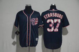 2017 MLB Washington Nationals 37 Strasburg Blue Fashion Edition Jerseys