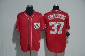 2017 MLB Washington Nationals 37 Strasburg Red Fashion Edition Jerseys