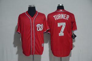 2017 MLB Washington Nationals 7 Turner Red Fashion Edition Jerseys