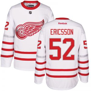 2017 NHL Detroit Red Wings 52 Ericsson White Jerseys