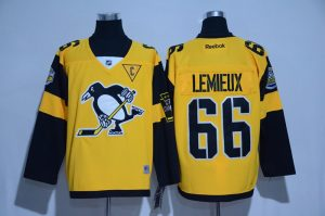 2017 NHL Pittsburgh Penguins 66 Lemieux Yellow Jerseys