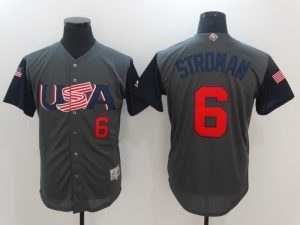 Men USA Baseball 6 Stroman Gray 2017 World Baseball Classic Authentic Jersey