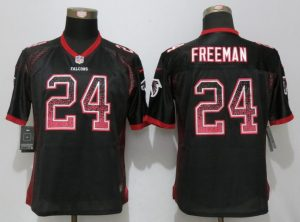 Women New Nike Atlanta Falcons 24 Freeman Drift Fashion Black Elite Jerseys