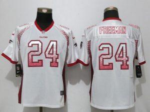 Women New Nike Atlanta Falcons 24 Freeman Drift Fashion White Elite Jerseys