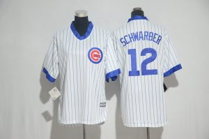 Womens 2017 MLB Chicago Cubs 12 Schwarber White stripe Jerseys