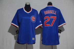 Womens 2017 MLB Chicago Cubs 27 Russell Blue Jerseys