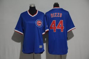 Womens 2017 MLB Chicago Cubs 44 Rizzo Blue Jerseys
