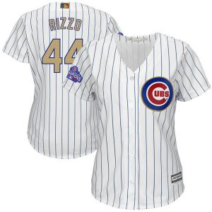 Womens 2017 MLB Chicago Cubs 44 Rizzo CUBS White Gold Program Jersey