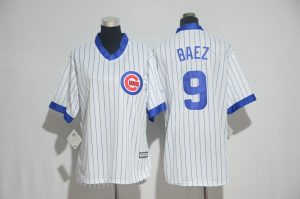 Womens 2017 MLB Chicago Cubs 9 Baez White stripe Jerseys