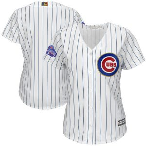 Womens 2017 MLB Chicago Cubs Blank CUBS White Gold Program Jersey