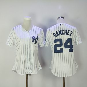 Womens 2017 MLB New York Yankees 24 Sanchez White Jerseys