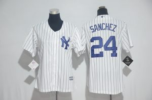 Womens 2017 MLB New York Yankees 24 Sanchez White Jerseys