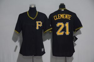Womens 2017 MLB Pittsburgh Pirates 21 Clemente Black Jerseys