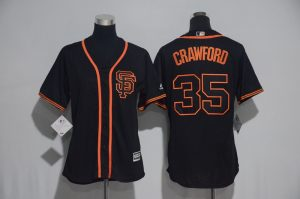 Womens 2017 MLB San Francisco Giants 35 Crawford Black Jerseys