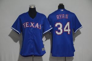 Womens 2017 MLB Texas Rangers 34 Ryan Blue Jerseys