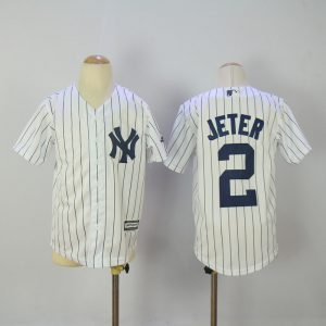 Youth 2017 MLB New York Yankees 2 Jeter White Jerseys