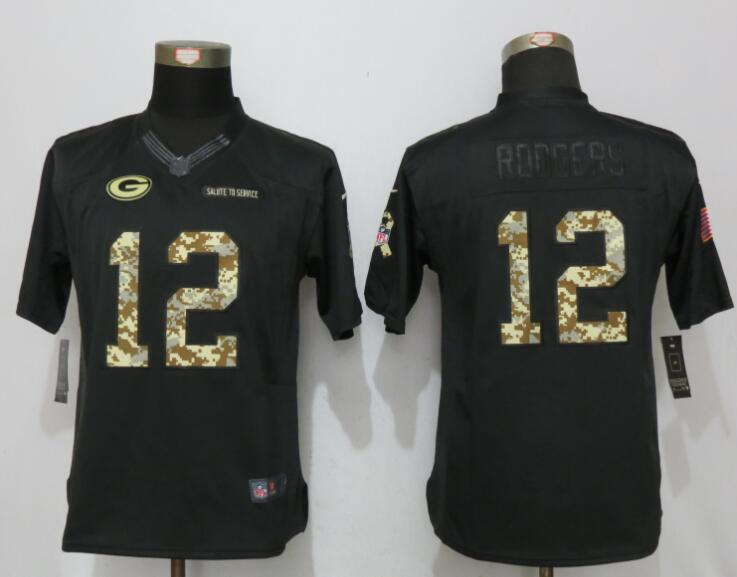 women New Nike Green Bay Packers 12 Rodgers Anthracite Salute To Service Elite Jersey