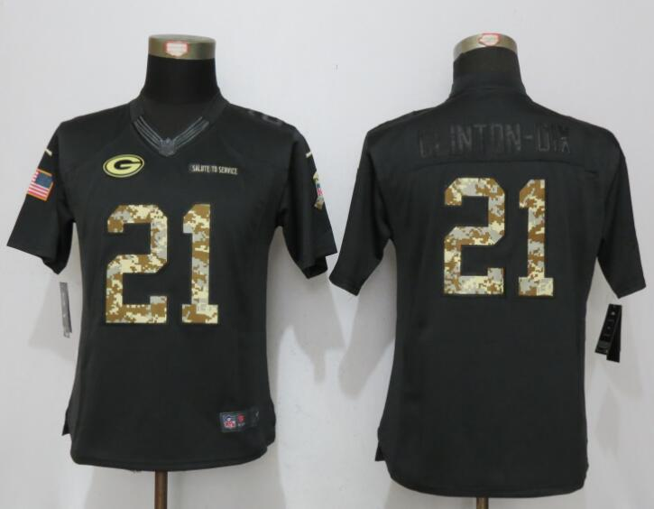 women New Nike Green Bay Packers 21 Clinton-Dix Anthracite Salute To Service Elite Jersey