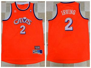 2017 NBA Cleveland Cavaliers 2 Kyrie Irving Orange Throwback Jerseys