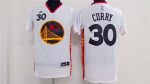2017 NBA Golden State Warriors 30 Stephen Curry Chinese white Jerseys