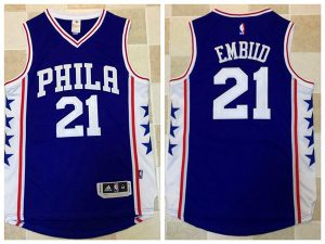 2017 NBA Philadelphia 76ers 21 Embiid blue Jerseys