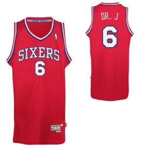 2017 NBA Philadelphia 76ers 6 DR.J red jerseys