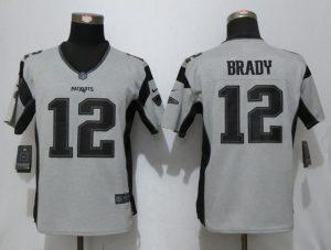 2017 Women New Nike New England Patriots 12 Brady Nike Gridiron Gray II Elite Jersey