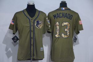 Womens 2017 MLB Baltimore Orioles 13 Machado Green Salute to Service Stitched Baseball Jersey