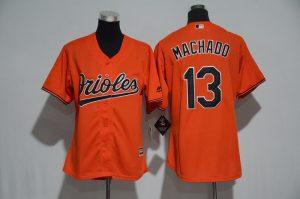 Womens 2017 MLB Baltimore Orioles 13 Machado Orange Jerseys