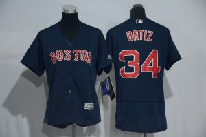 Womens 2017 MLB Boston Red Sox 34 Ortiz Blue Elite Jerseys