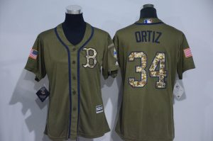Womens 2017 MLB Boston Red Sox 34 Ortiz Green Salute to Service Stitched Baseball Jersey