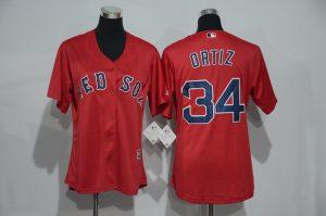 Womens 2017 MLB Boston Red Sox 34 Ortiz Red Jerseys