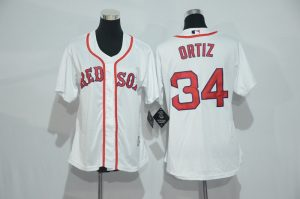 Womens 2017 MLB Boston Red Sox 34 Ortiz White Jerseys