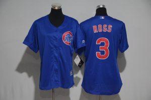 Womens 2017 MLB Chicago Cubs 3 Ross Blue Jerseys