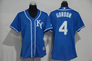 Womens 2017 MLB Kansas City Royals 4 Gordon Blue Jerseys