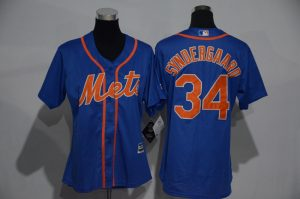 Womens 2017 MLB New York Mets 34 Syndergaard Blue Jerseys