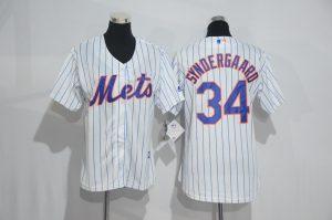 Womens 2017 MLB New York Mets 34 Syndergaard White Jerseys