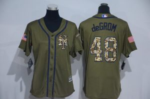 Womens 2017 MLB New York Mets 48 DeGrom Green Salute to Service Stitched Baseball Jersey