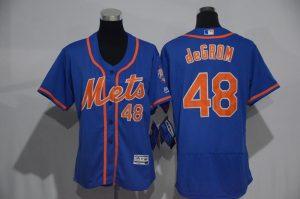 Womens 2017 MLB New York Mets 48 deGrom Blue Elite Jerseys