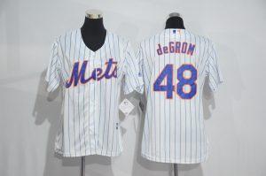 Womens 2017 MLB New York Mets 48 deGrom White Jerseys
