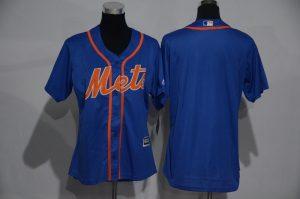 Womens 2017 MLB New York Mets Blank Blue Jerseys