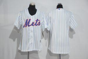 Womens 2017 MLB New York Mets Blank White Jerseys
